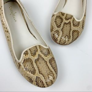 Cole Haan Morgan Leather Flats Snakeskin Sz 10